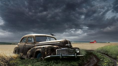 Classic Car Wallpaper 1600 X 900 Resolution by Abandoned Classic Car In A Field Hd Desktop