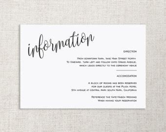 Wedding Invitation Info Card by Wedding Details Card Etsy