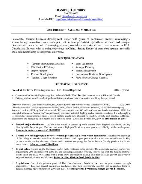 resume template linkedin linkedin url on resume exle vice president sales