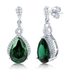 drop earrings silver berricle sterling silver simulated emerald cz teardrop dangle drop earrings ebay