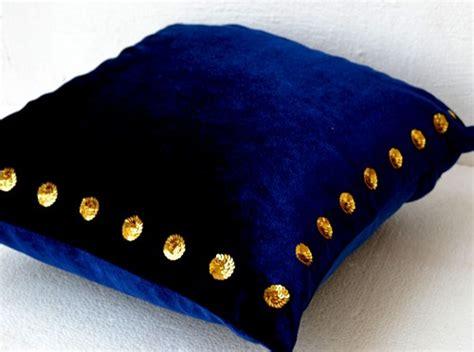 Large Navy Blue Throw Pillows Decorative Pillow Navy Blue Velvet Gold Sequin Cushion