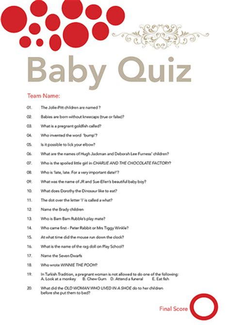Baby Shower Questionnaire by Baby Shower Quiz Flickr Photo