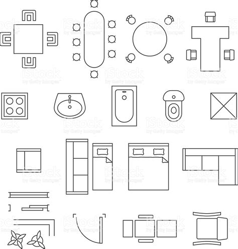 symbols on floor plans furniture linear vector symbols floor plan icons set stock