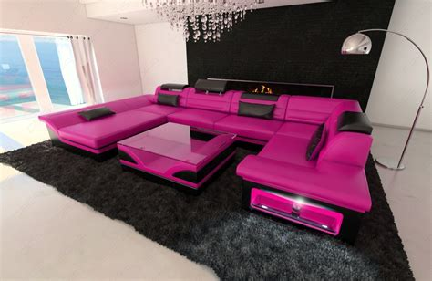 big leather sofa big leather sofa enzo with led lights pink black ebay