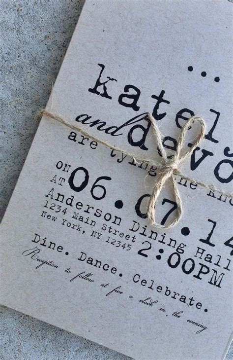 DIY Printable Wedding Invitation   Typewriter kraft paper