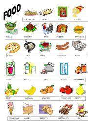 guess my word 35 food items worksheet free esl teaching worksheets food