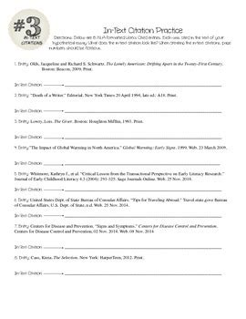 Mla Citation Practice Worksheet by Research Skills Mla In Text Citations And Practice