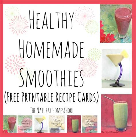 printable recipes for smoothies healthy homemade smoothies free printable recipe cards