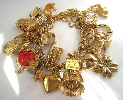 vintage gold charm bracelet found at an antique show