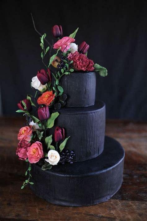 brilliant matter black wedding cake ideas