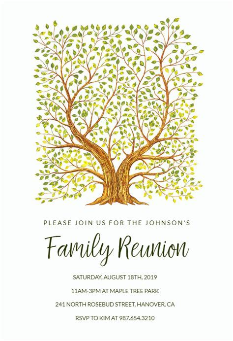 FamilyTree   Family Reunion Invitation Template (Free