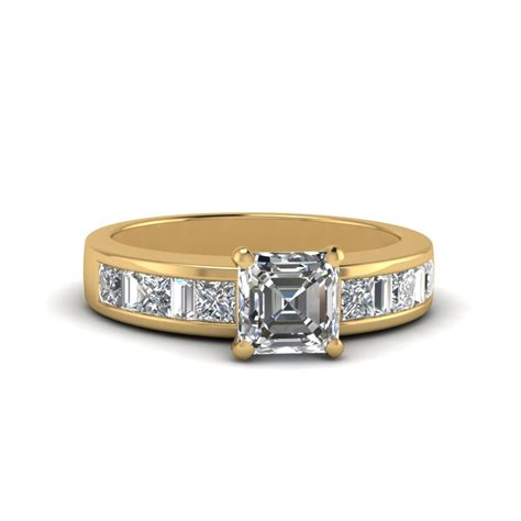 cushion cut thick band and baguette engagement
