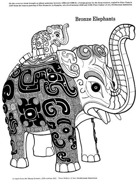 hipster elephant coloring page bronze elephant coloring page ancient china for kids