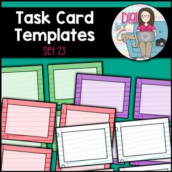 Task Card Template Ppt by Task Card Templates Clip Set 23 By Digi By Tpt