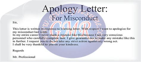 Apologies Letter To On Misconduct Business Letters Sles Furniture Authority Goods Return Termination