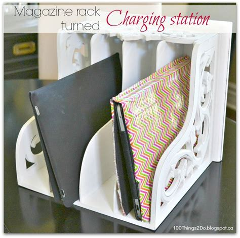 diy ipad charging station turn an ordinary magazine rack into a charging station for your phones tablets http