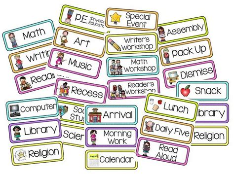 printable kindergarten schedule cards 40 best images about visual schedule on pinterest