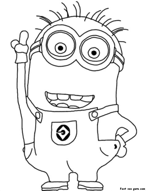 printable disney two eyed minion despicable me 2 coloring