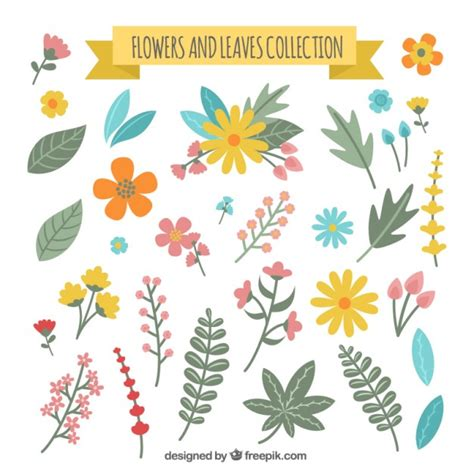 botanical pattern ai flower and leaves collection vector free download