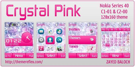 nokia c2 pink themes crystal pink theme for nokia c1 01 c2 00 themereflex
