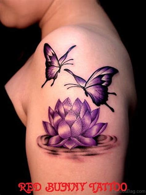 purple tattoo 55 beautiful butterfly and flower shoulder tattoos