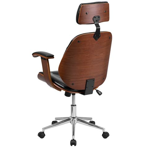 wood and leather swivel desk chair ergonomic home high back black leather executive wood