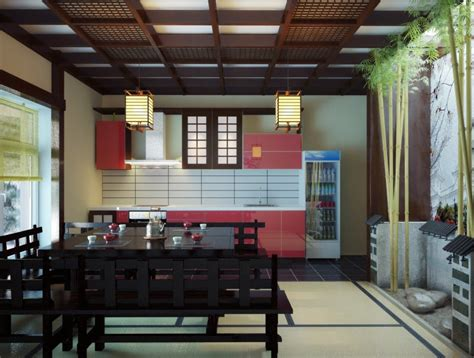black japanese inspired kitchen dining space