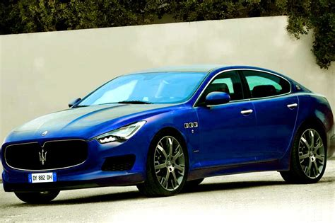 blue maserati ghibli new sedan coupe hatchback ghibli 2014 on maserati stand at