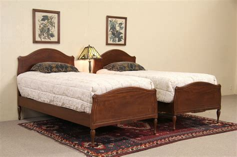 vintage twin bed sold pair of 1950 s vintage mahogany twin beds harp