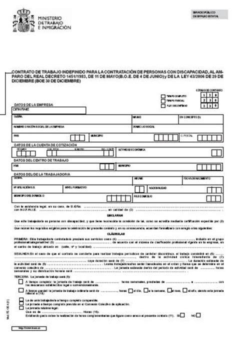 contrato de trabajo con trabajadores del servicio domestico modelos contrato de trabajo indefinido para personas con