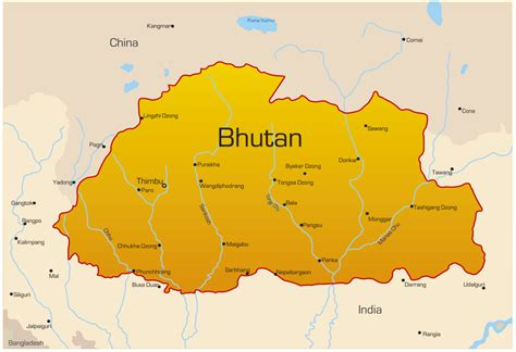 where is bhutan on a world map bhutan map my