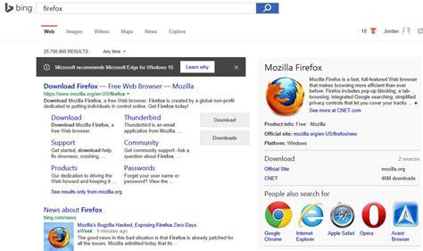 bing web browser for windows microsoft is using bing to discourage windows 10 users
