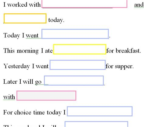 what i did at school today template journal sentences for template 187 template