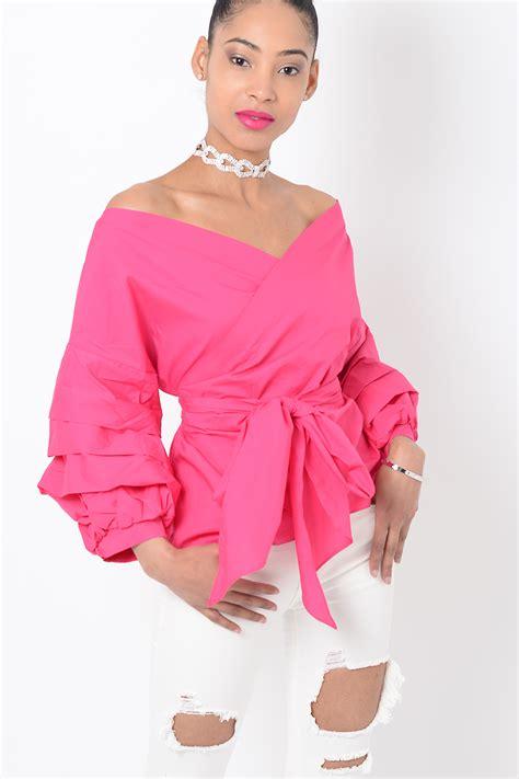 Sleeve Wrap Top stylish pink ruffle sleeve wrap top stylish tops