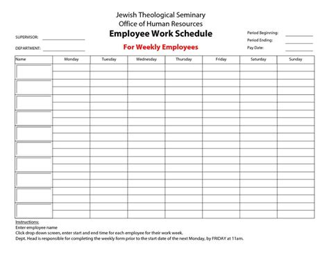 20 Hour Work Week Template Employee Work Schedule For Weekly Employees Print Form Jewish Weekly Employee Schedule Template