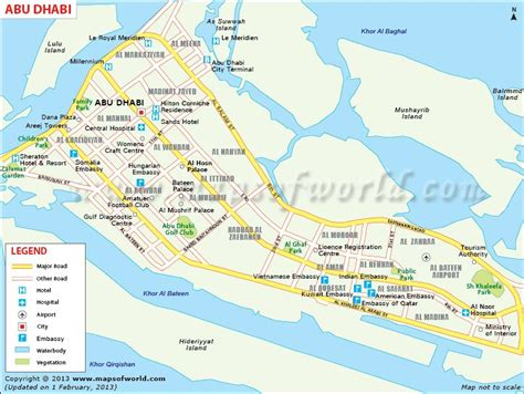 map of abu dhabi map of abu dhabi city showing roads tourist places