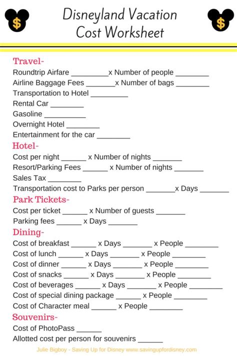 printable disneyland vacation planner 17 best images about vacation planners on pinterest