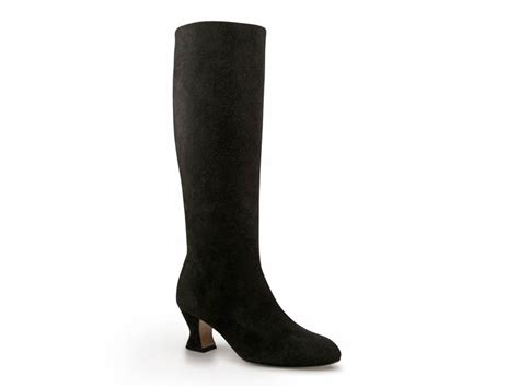 marni black suede leather low heel knee high boots shoes