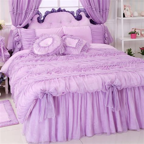 pink coverlet full aliexpress com buy princess lace pink purple bedding