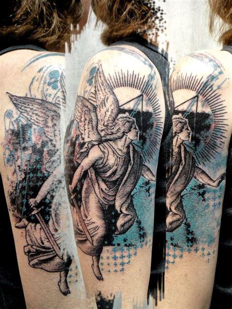 tattoo ink angels half sleeve grey ink flying angel tattoo tattooshunt com