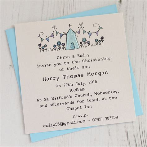 not on the high wedding invitations uk personalised pack of christening invitations by eggbert