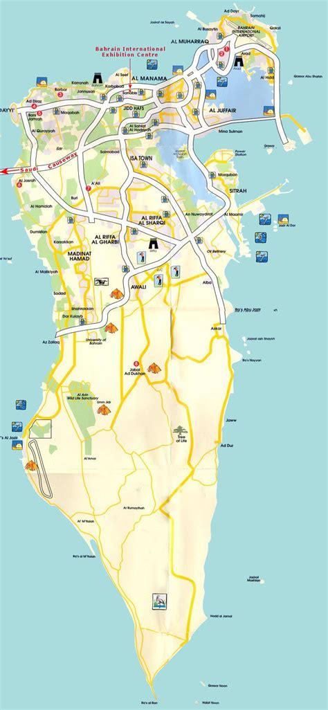 Printable Road Map Of Bahrain | detailed road and tourist map of bahrain bahrain detailed
