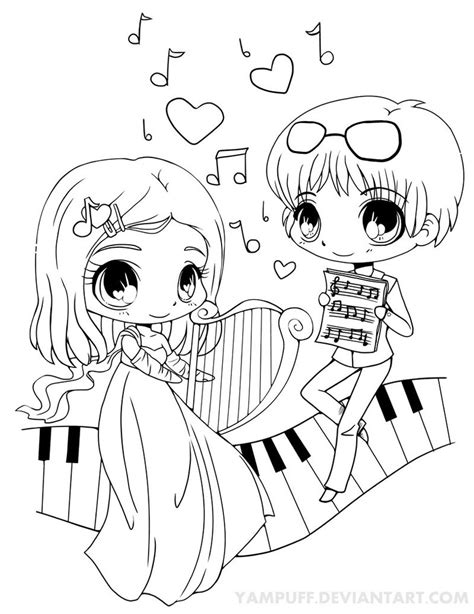 cute music coloring pages musical chibis lineart by yampuff on deviantart