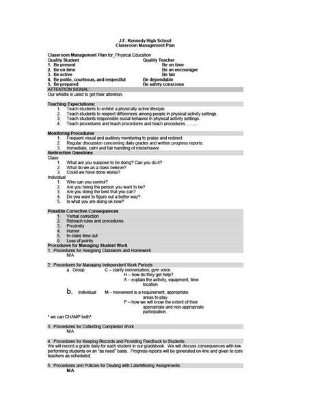 classroom management plan 38 templates exles