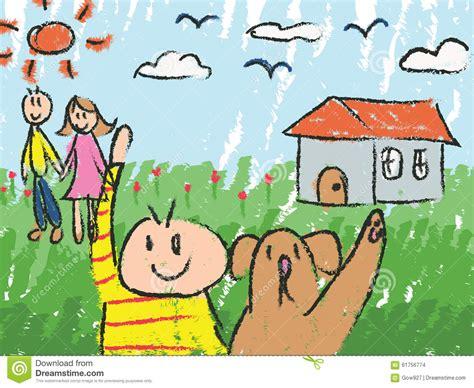 Kindergarten Children Color Doodle Drawing Sketch Stock Vector Image 61756774 Drawing Pictures For Kindergarten