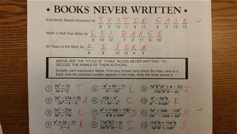 Books Never Written Math Worksheet Answers by Gebhard Curt Intalg Notes S2