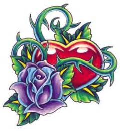 heart with rose tattoo clipart best