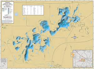 waupaca chain o lakes wall map