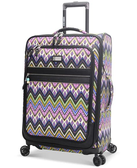 steve madden closeout 60 patchwork 29 quot expandable spinner suitcase only at macy s lyst