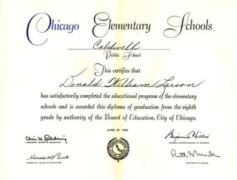 Caldwell Elementary School Graduation 1964 Pictures Elementary School Graduation Diploma Template